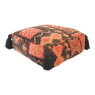 Vintage Pink and Charcoal Moroccan Pouf For Sale