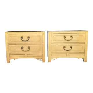 Mid 20th Century White Fine Furniture Asian Fretwork Nightstands - a Pair For Sale