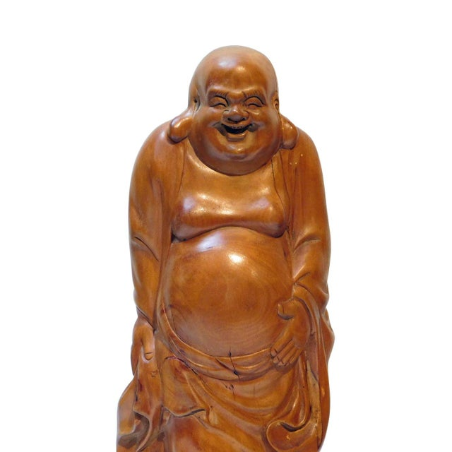 Chinese Hand Carved Standing Happy Buddha Budai Luohan Statue On Cloud Base For Sale - Image 4 of 5