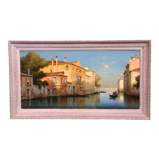 Early 20th Century French Venice Framed Oil Painting Signed Alphonse Lecoz For Sale