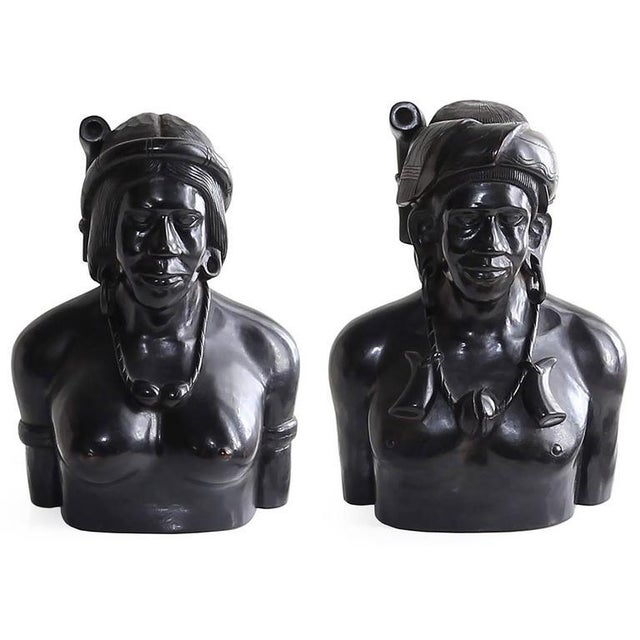 Hand-Carved Wood Bust Sculptures of Tribal Shaman Figures - A Pair For Sale - Image 11 of 11