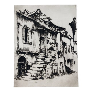 European Architectural Etching 1930s For Sale