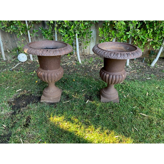 Antique Distrssed Iron Urns - a Pair For Sale In Los Angeles - Image 6 of 6