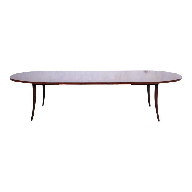 Harvey Probber Mid-Century Modern Saber Leg Rosewood Extension Dining Table, Newly Refinished For Sale
