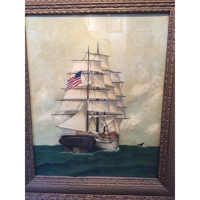 Vintage American Sailboat Painting - Image 3 of 8