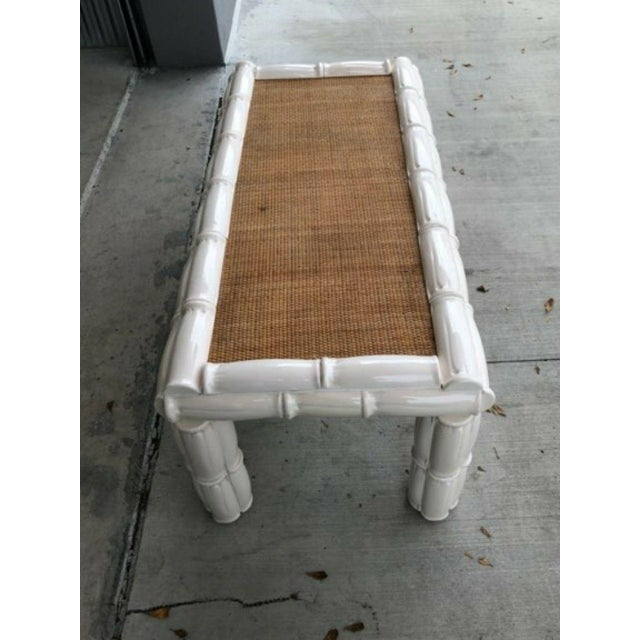 1950s Italian Palm Beach Style Blanc De Chine Terracotta Faux Bamboo Table For Sale - Image 4 of 7