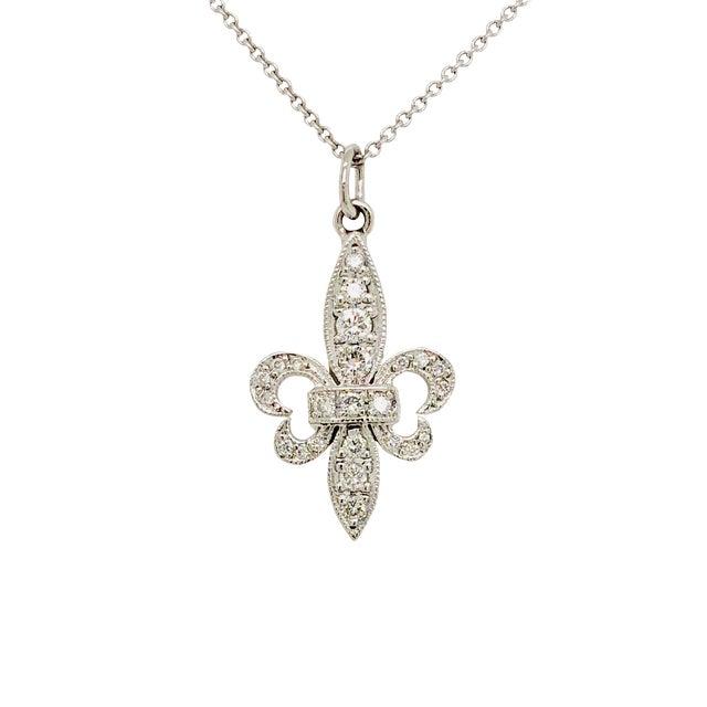 18k White Gold Fleur De Lis Diamond Pendant on Chain For Sale