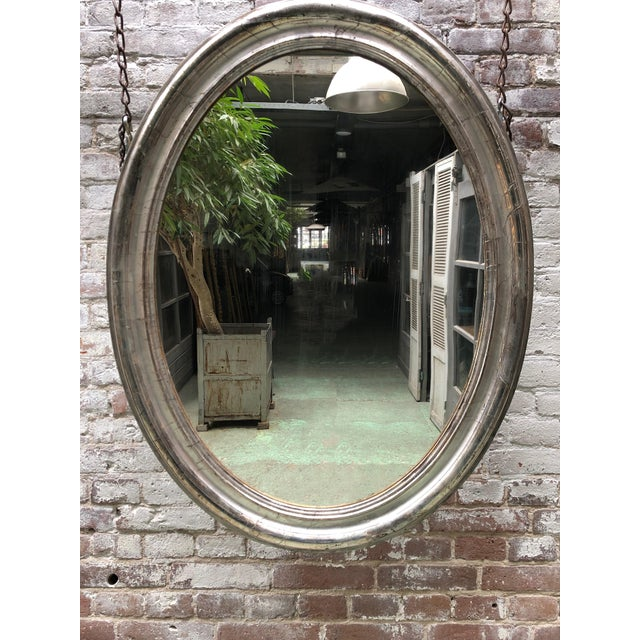 Wood Rare 19th Century Ovale Silver Leaf Gilded Mirror For Sale - Image 7 of 7