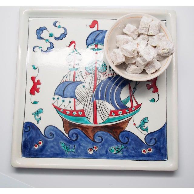 "Gorgeous contemporary quartz platter tray based on a classic Ottoman ship design. Quartz tray measures approximately 10.5""..."