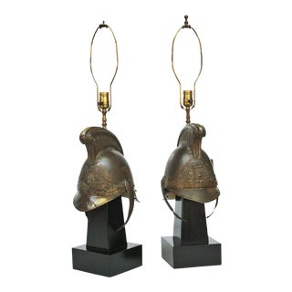 19th Century French Firefighter Helmets Mounted as Lamps For Sale