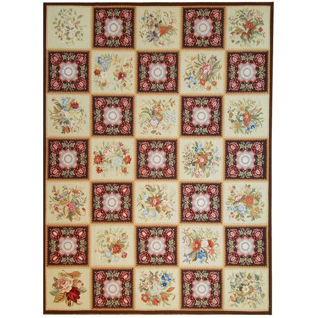 """Contemporary Pasargad Aubusson Hand Woven Wool Rug - 8' 9"""" x 11'10"""" For Sale - Image 3 of 3"""