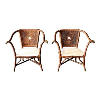 Pair of Rattan and Brass Drexel Chairs For Sale
