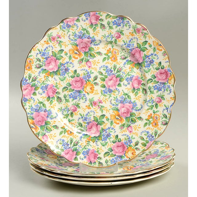 Red James Kent Rosalynde Chintz Salad Plate - Set of 4 For Sale - Image 8 of 8