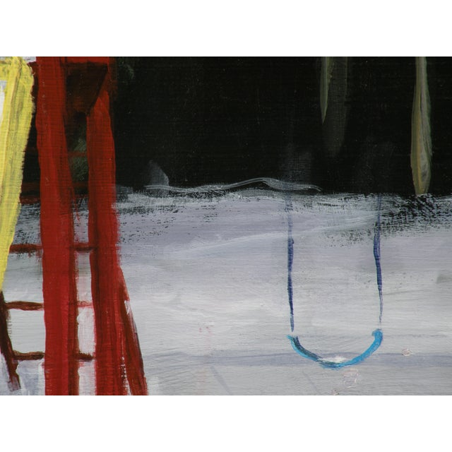 Landscape Painting Children's Swingset in Snow - Image 3 of 5