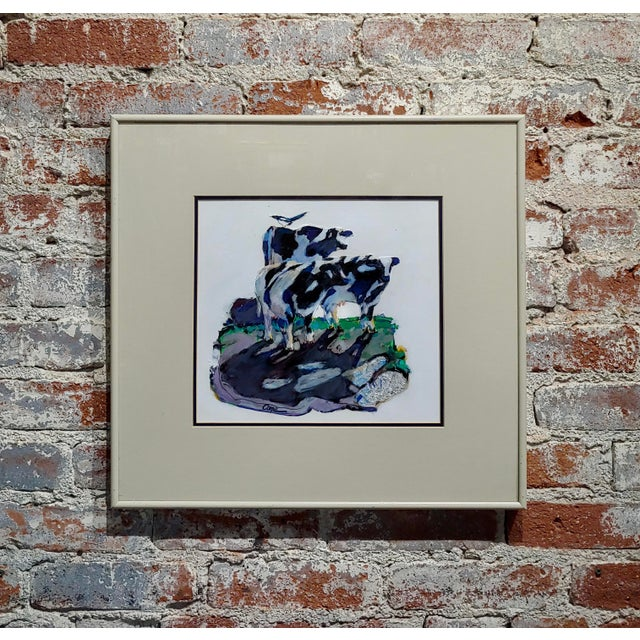 Marianne Cone - Black & White 3 Cows & a Magpie Bird-Painting For Sale - Image 9 of 9