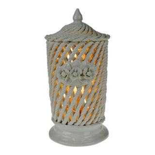 Vintage Spanish Porcelain Basket Weave Lidded Vase Table Lamp