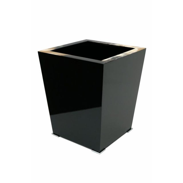 Black Lacquer and Horn Waste Paper Basket For Sale In New York - Image 6 of 6