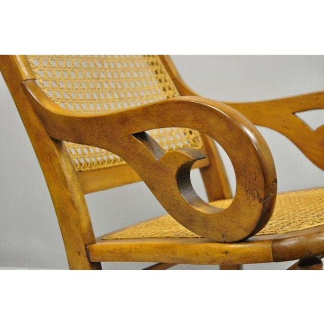 19th Century 19th Century Antique Eastlake Victorian Cane & Maple Wood Primitive Rocker Rocking Chair For Sale - Image 5 of 12
