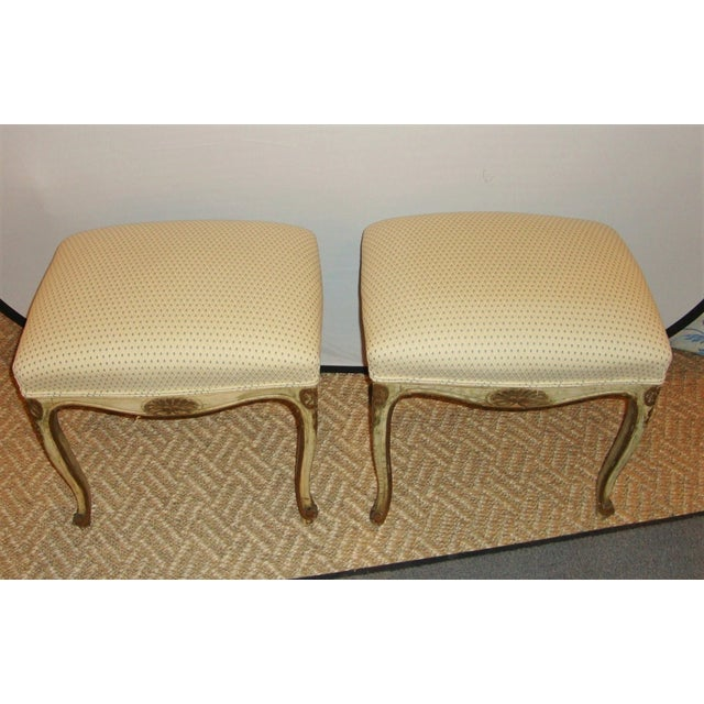 French Painted Stools - A Pair For Sale - Image 4 of 9