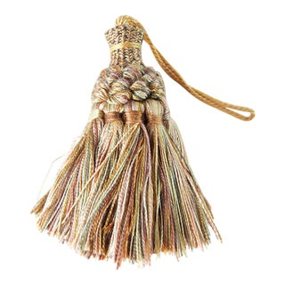 Late 20th Century Soft Rose, Yellow & Green Tassel For Sale