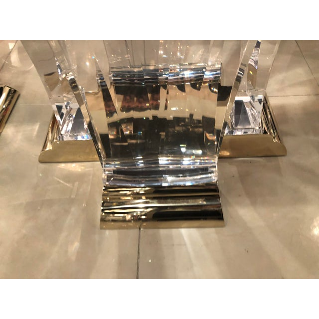 Gold Vintage Jeffrey Bigelow Hollywood Regency Lucite and Brass Dining Table Bases - A Pair For Sale - Image 8 of 13