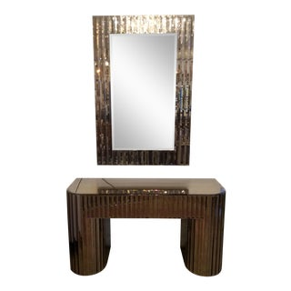 Art Deco Mirrored Console Table and Mirror