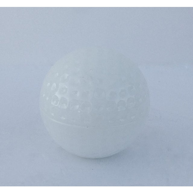 Vintage milk glass golf ball-shaped lidded keepsake box. Circa 1950s. Perfect desk accent, personal keepsake masculine...