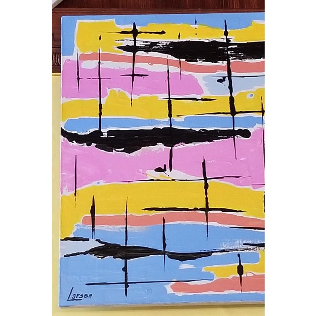 Abstract Mid-Century Style Contemporary Pastel Abstract Painting For Sale - Image 3 of 8