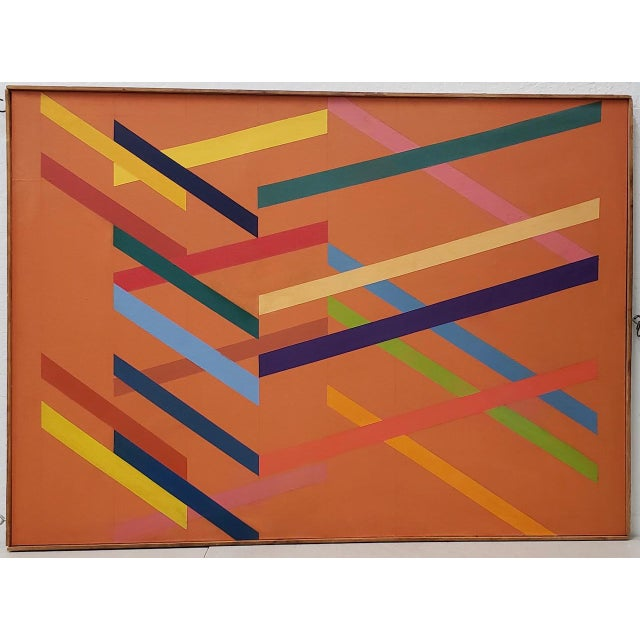Tom Patrick (American, 20th c.) Vintage Geometric Abstract on Canvas c.1970s Brilliant vintage painting by Tom Patrick....