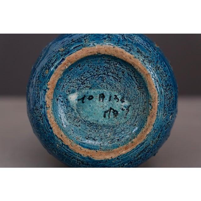 1960s Vintage Blue & Golden Ceramic Bottle by Aldo Londi for Bitossi, 1960 For Sale - Image 5 of 7