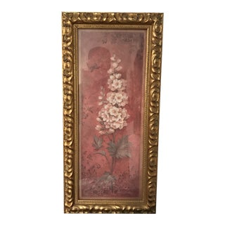 Gilded Carved Frame With Printed Copy of Roman Fresco For Sale