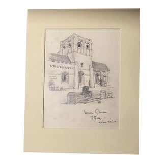 1920s Vintage Walter E. Church English Landscape Pencil Drawing - Iffley For Sale