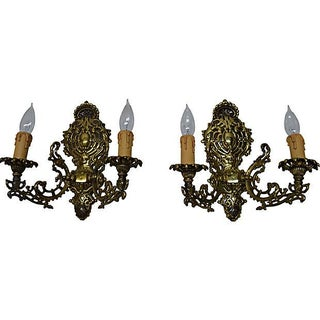 Hindu Filigree 2-Arm Sconces - Pair For Sale