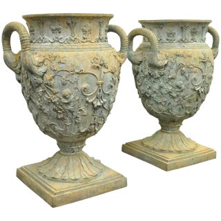French Neoclassical Style Figural Cast Bronze Garden Urns - a Pair For Sale