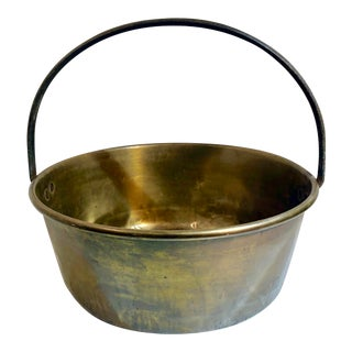 Antique Brass Pot Kettle Copper Sphinx Marked Antique Basket For Sale