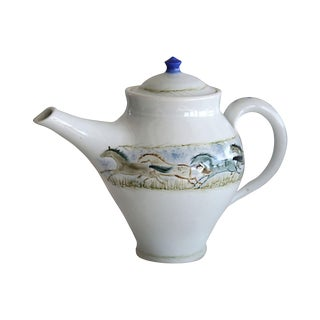 1960s Cottage Hand-Painted Teapot For Sale