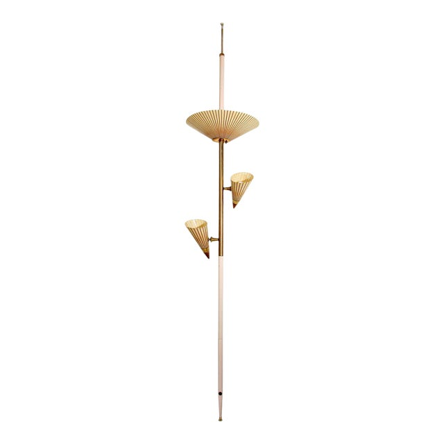 1950s Adjustable Vintage Three Shades Extension Pole Lamp by Gerald Thurston For Sale