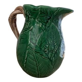 1980s Japanese Green Ceramic Majolica Pitcher For Sale