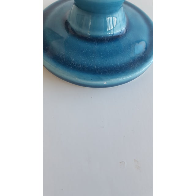 Ceramic Mid Century Glazed Ceramic Cerulean Blue Compote Apothecary Jar with Lid For Sale - Image 7 of 9