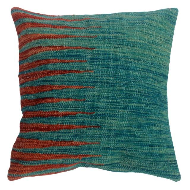 "Desmond Blue/Rust Hand-Woven Kilim Throw Pillow(18""x18"") For Sale"