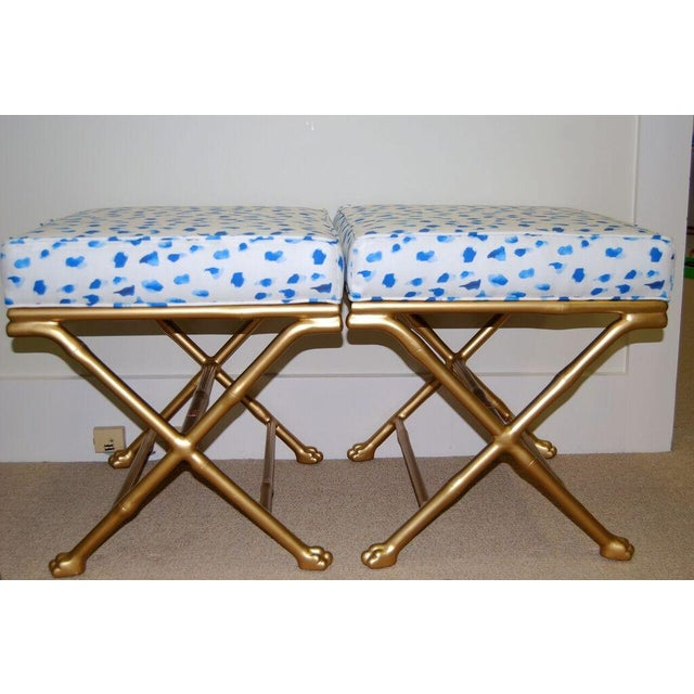 Unique Society Social X-stools in gold faux bamboo with fancy hand-carved feet, includes cushion custom covered in blue &...