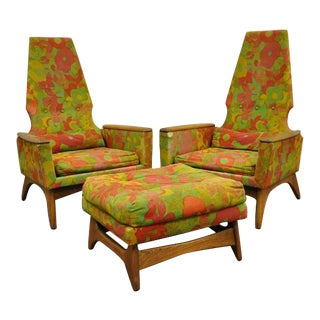 1960s Vintage Kroehler High Back Adrian Pearsall Style Walnut Lounge Chairs and Ottoman- 3 Pieces For Sale