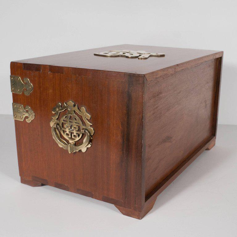 Luxury MidCentury Modern Rosewood Chinese Jewelry Box with Brass