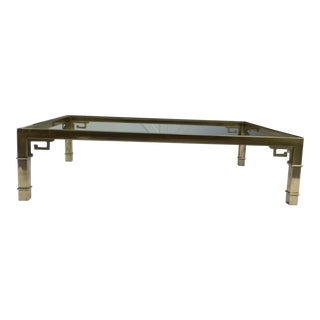 Mastercraft Brass Coffee Table W/ Greek Key Design For Sale