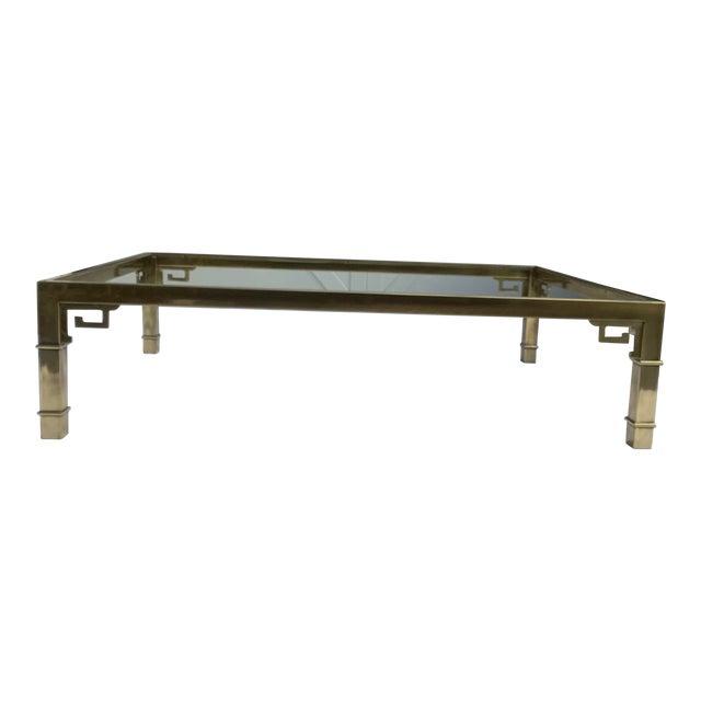 Mastercraft Brass Coffee Table W/ Greek Key Design For Sale