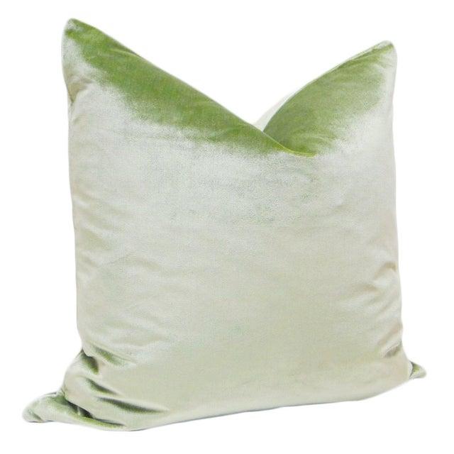 "Pair of luxurious 22"" Italian Silk Velvet pillows in Pistachio green. Same sided, knife edge finish, hidden zipper..."