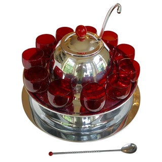 Kromex Usa Art Deco Chrome & Red Glass Punchbowl Set For Sale