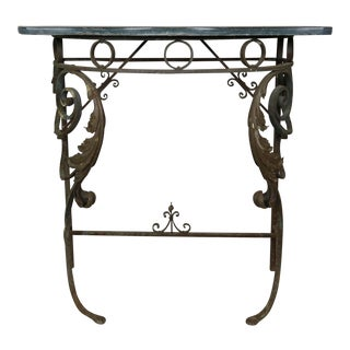 Italian Marble-Top Iron Console, Circa 1940s For Sale