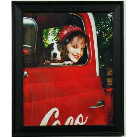 Framed Coca Cola Girl & Dog Poster Print - Image 1 of 2