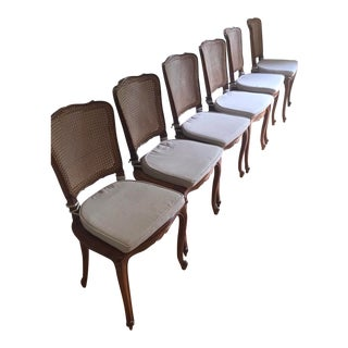 Late 20th Century Antique French Provincial Cane Chairs - Set of 6 For Sale